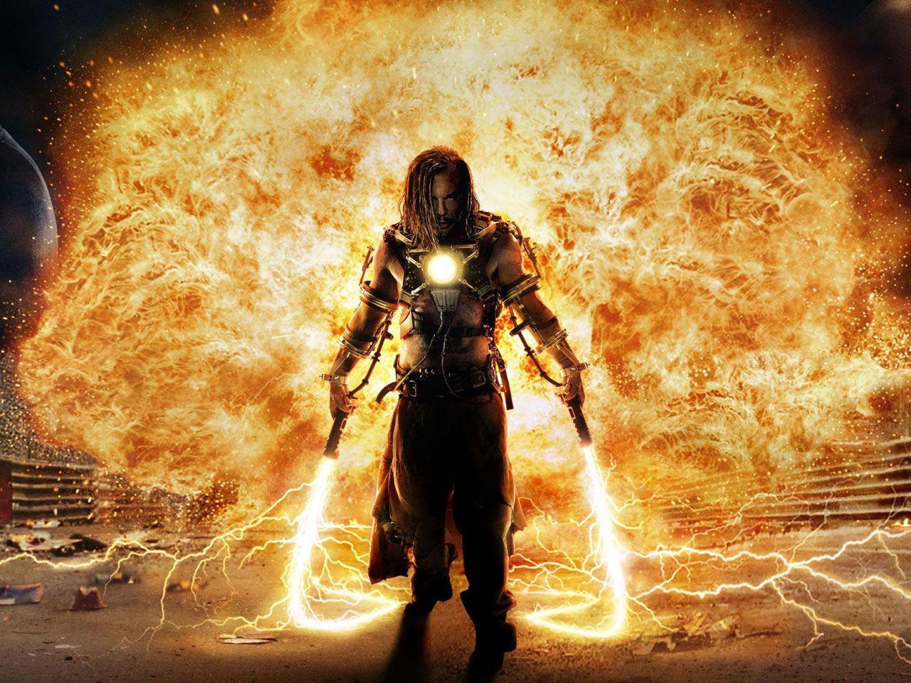 Мжчина с окровавленным мечем в огне  № 1840925  скачать